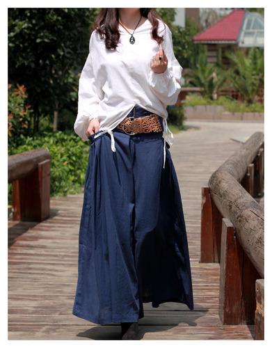 Wide Waist bag linen of flax personality Skirt