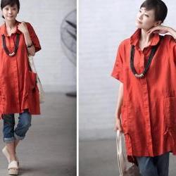 Orange casual linen pocket short-sleeve loose shirt