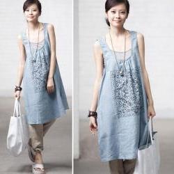 Linen printed vest dress